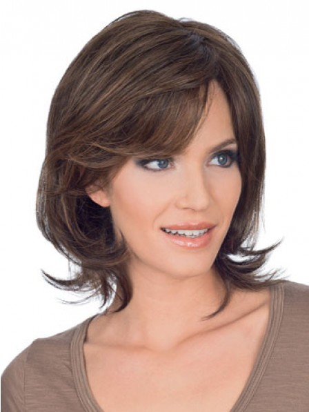 Choppy Short Wavy Human Hair Lace Front Wig With Side Bangs