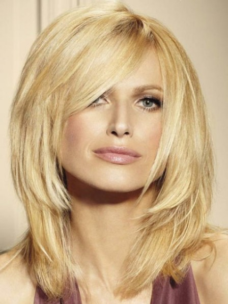 Plain Layered Straight Lace Front  Human Hair Wig With Side Bangs