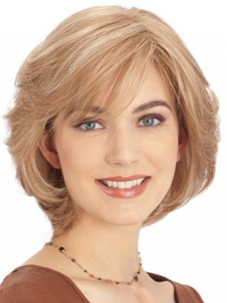Nice Chin Length Straight Blonde Human Hair Lace Front Wigs