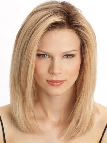 Human Hair Shoulder Length Straight Lace Front Natural Wig