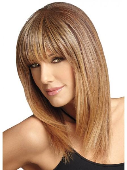 New Ladies Capless Long Straight Human Hair Wig Natural Looking