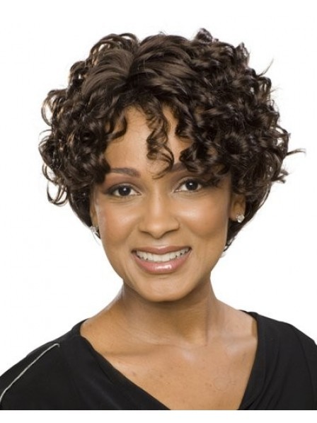 Cheap Short Curly Synthetic Hair Wig With Bangs 2019