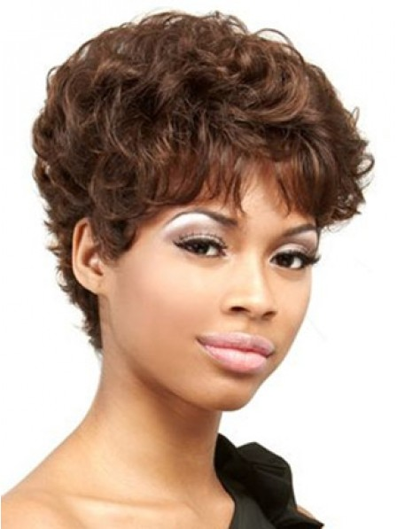 Short Wavy Synthetic Hair Capless Hair Wig With Bangs 2019