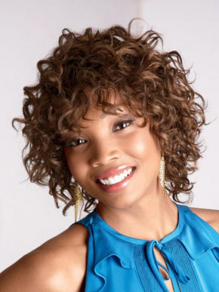 Comfortable Cheap Ladies Synthetic Short Curly Wig With Bangs