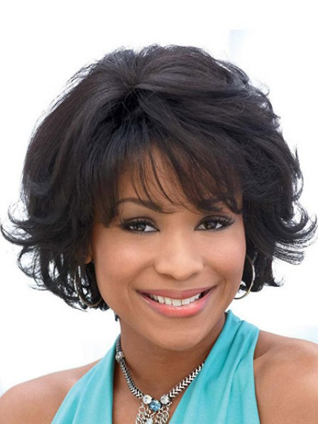 Cheap Lace Front Short Wavy Hair Wig With Bangs