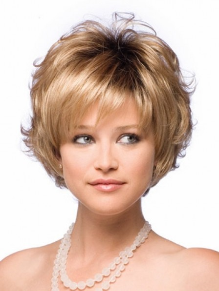 Best Women's Wavy Short Synthetic Wig With Bangs Online Sale