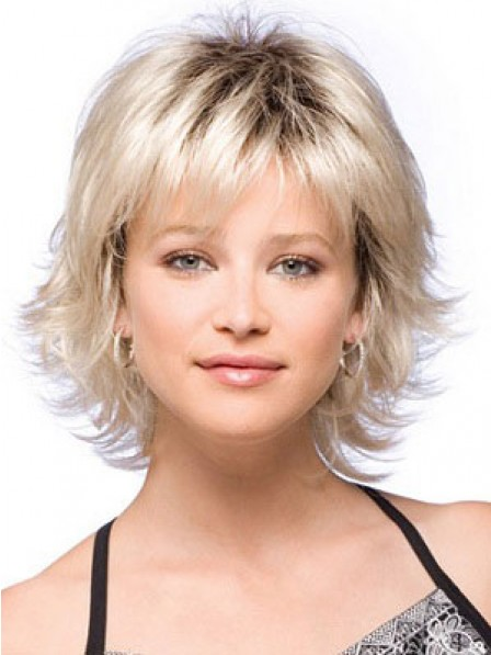Short Synthetic Wavy Capless Wig With Bangs For Women