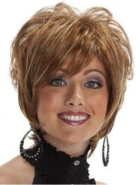 Elegant Short Synthetic Hair Wavy Wig For Women With Bangs