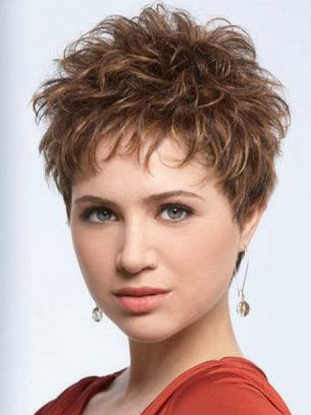 Synthetic Cropped Wavy Pixie Cut Women Hair Capless Wigs
