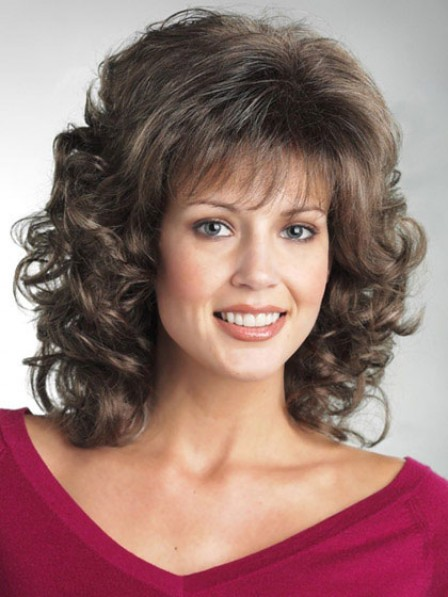 Synthetic Hair Shoulder Length Curly Wigs Fast Ship