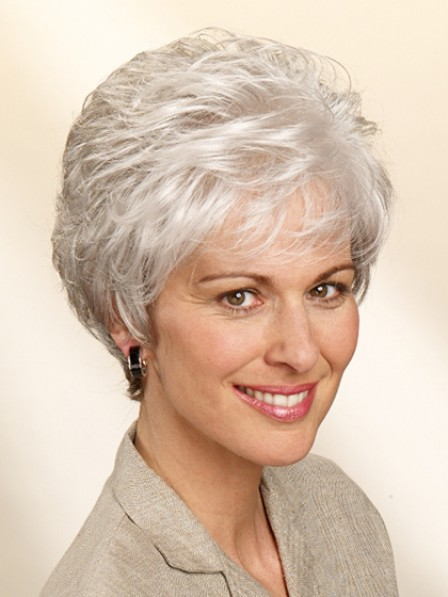 Classic Capless Wavy Grey Hair Short Wig Hot Sale
