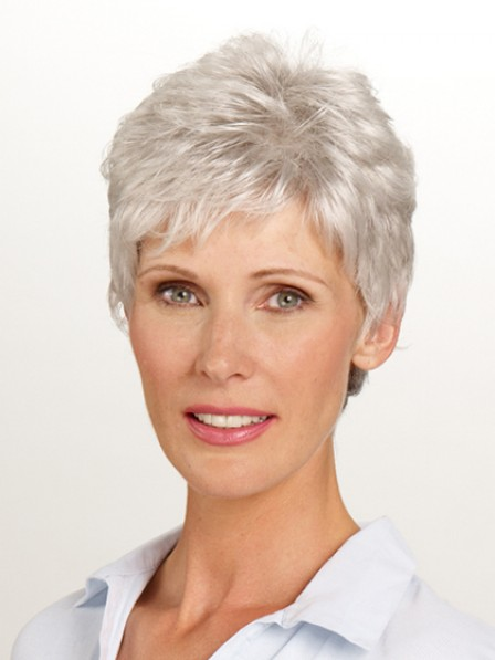 Best Sell Cropped Synthetic Wavy Style Grey Petite Wigs