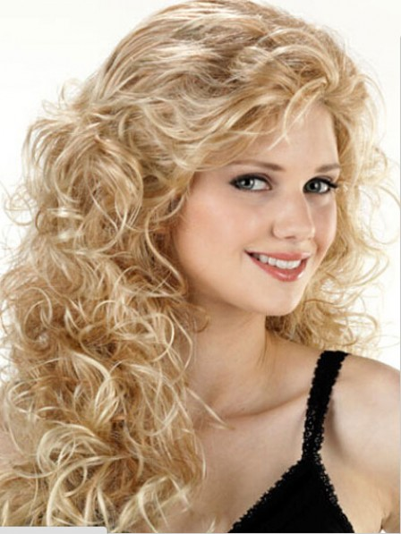 Hot Sale Synthetic Long Curly Hair Capless Wig For Young Women
