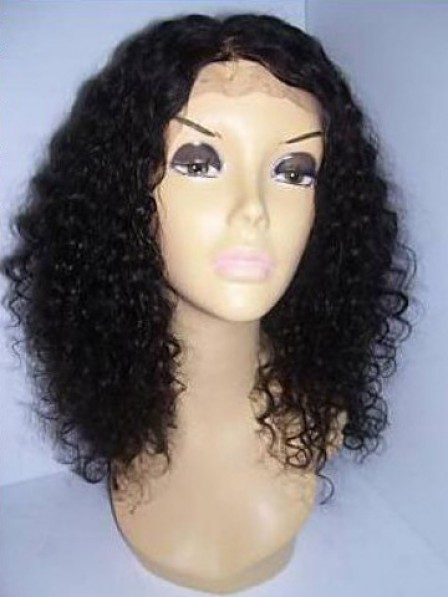 100% Human Hair Shoulder Length Lace Front Curly Real Hair Wigs