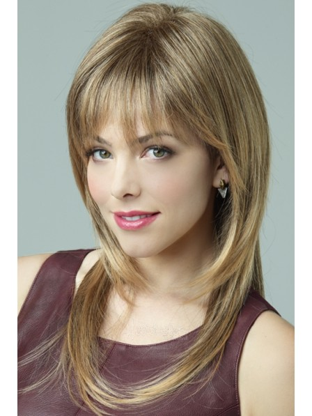 Auburn Long Straight Synthetic Layered Wigs With Bangs
