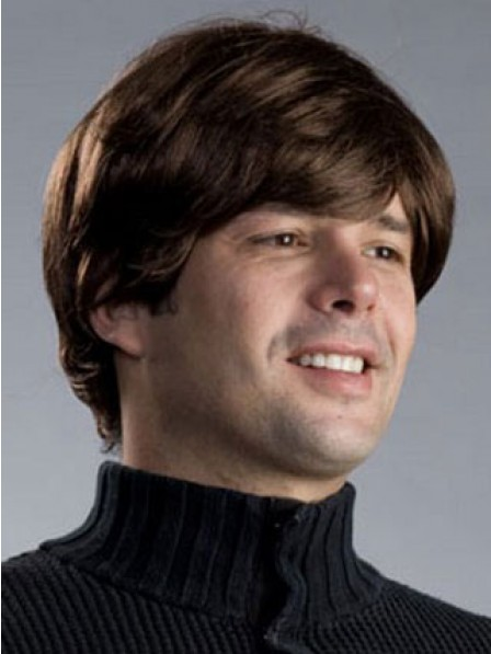 Cool Simple Style Capless Mens Straight Hair Wigs Fast Ship