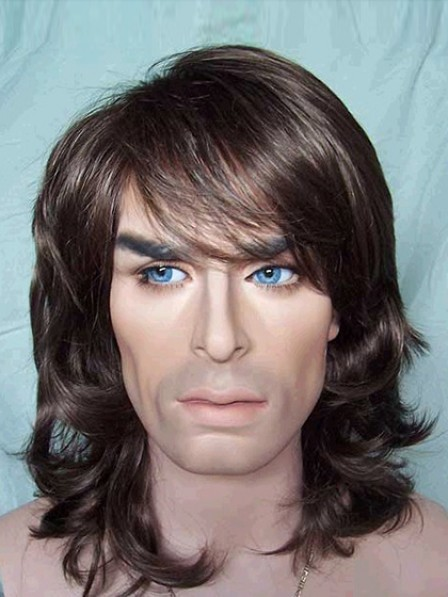 Best Shoulder Length Wavy Capless Mens Hair Wig With Bangs