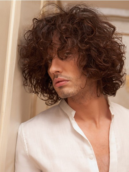 Natural Look Synthetic Hair Short Curly Hair Wig With Bangs For Men