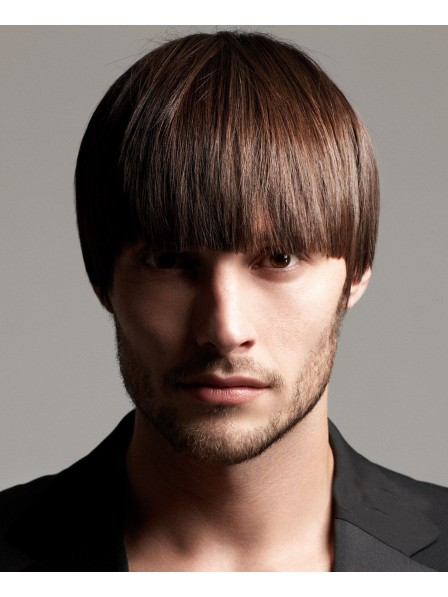 Hot Sale Short Straight Mens Capless Mens Wigs With Bangs