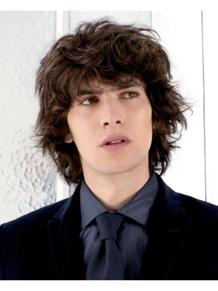 Fast Ship Short Curly With Bangs Mens Hair Wigs