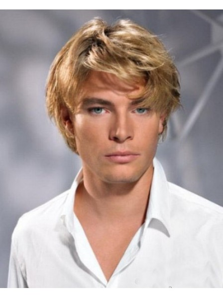 Popular Mens Synthetic Capless Mens Hair Wig With Bangs