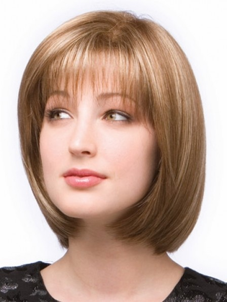 Bob Lace Front Monofilament Straight Women Hair Wig With Bangs