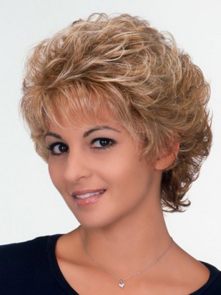 Cheap Classic Short Curly Synthetic Wig With Bangs