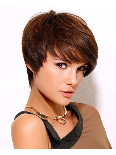Cheap Straight With Bangs Women Short Synthetic Wig