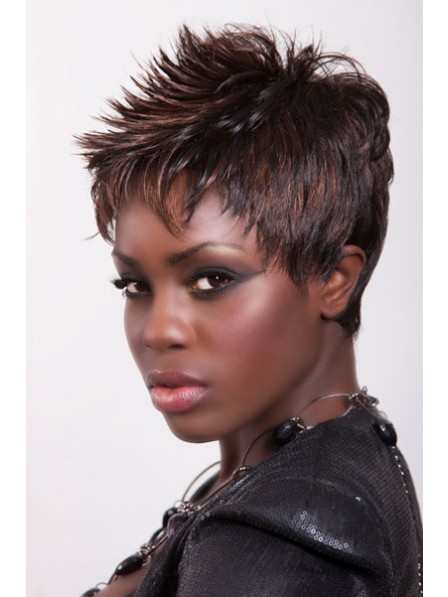 Modern Straight Capless Synthetic Wigs Pixie Cut