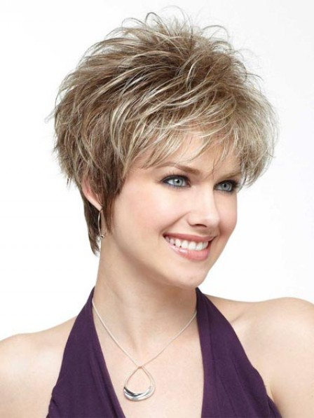 Modern Short Fluffy Straight Synthetic Wig With Bangs