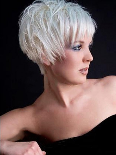 Grey Capless Short Synthetic Hair Wig Fast Shipping