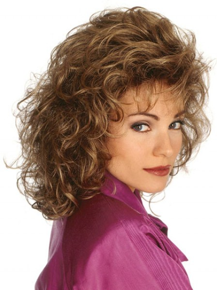 Shoulder Length Curly Women Wig With Bangs Fast Ship