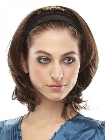 Short 3/4 Wig Natural Straight Women Hair Headband