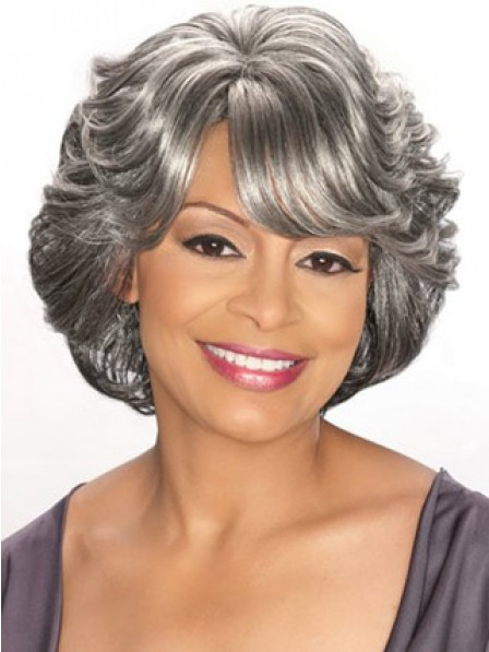 Grey Wavy Synthetic Hair Wig With Side Bangs