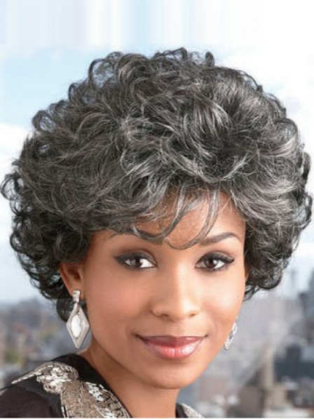 Short Curly Capless Grey Wig With Bangs
