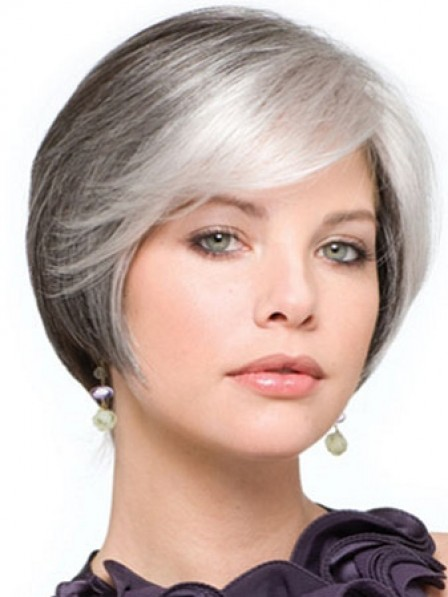 Synthetic Lace Front Straight Grey Wig With Side Bangs