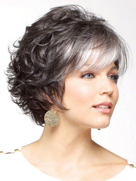 Synthetic Short Curly Salt and Pepper Wig With Bangs