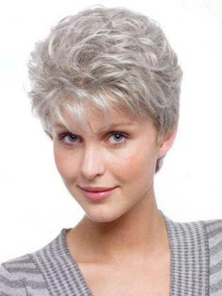 Hot Sale Grey Curly Capless Hair Wig With Bangs