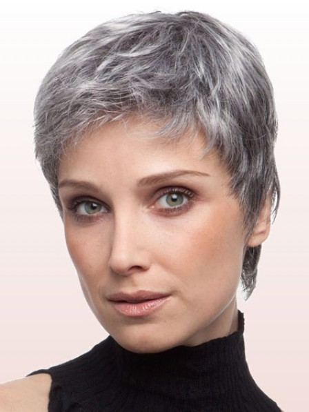Old Ladies Cropped Straight Synthetic Grey Hair Wig