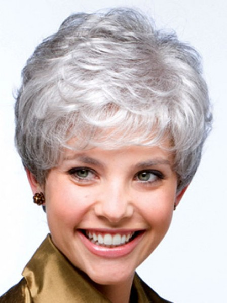 Cropped Wavy Lace Front Mono Top Grey Wig With Bangs