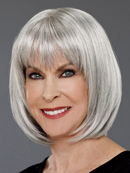 Grey Bob Straight Hair Wig For Women Over 40