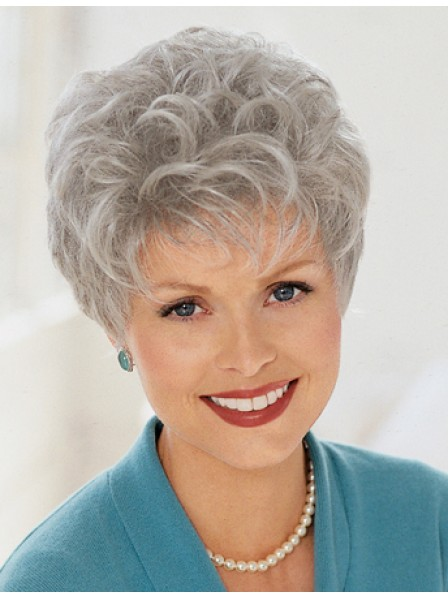 Cropped Grey Curly Hair Wig For Women