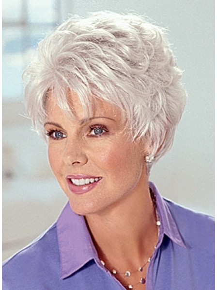 Hot Sale Cropped Grey Curly Women Hair Wigs Cheap Price
