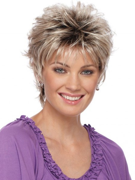 Cropped Layered Wavy Capless Wigs Pixie Cut