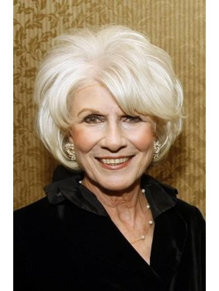 Chin Length Synthetic Lace Front Grey Hair Wig