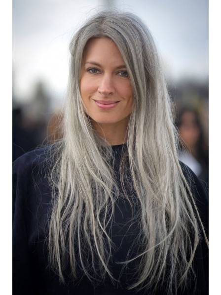 Long Lace Front Grey Straight Hair Wig