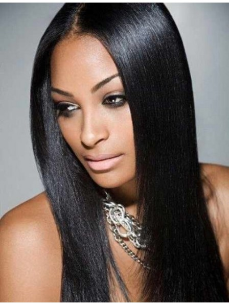 African American Long Straight Silky Black Lace Front Wigs Hot Sale