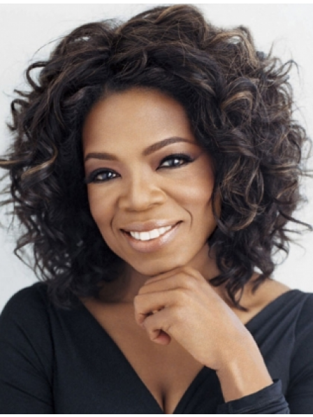 Mid-Length Curly Lace Front Synthetic Hair Wig for Black Women